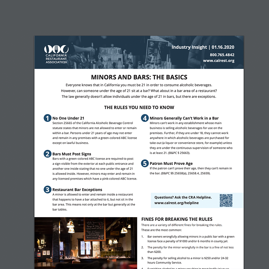 Minors and Bars: The Basics Industry Insight One-Pager